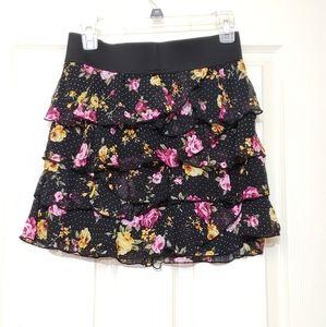 Ruffle skirt floral print poka dot tiered chiffon